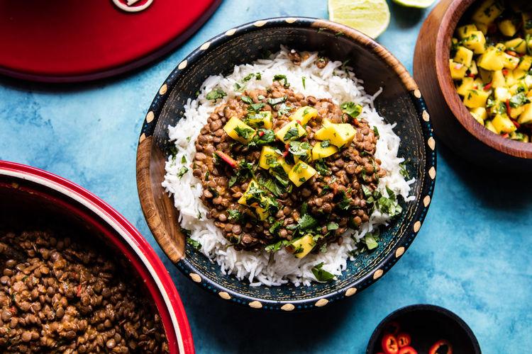 Indian Lentils with Mango Salsa