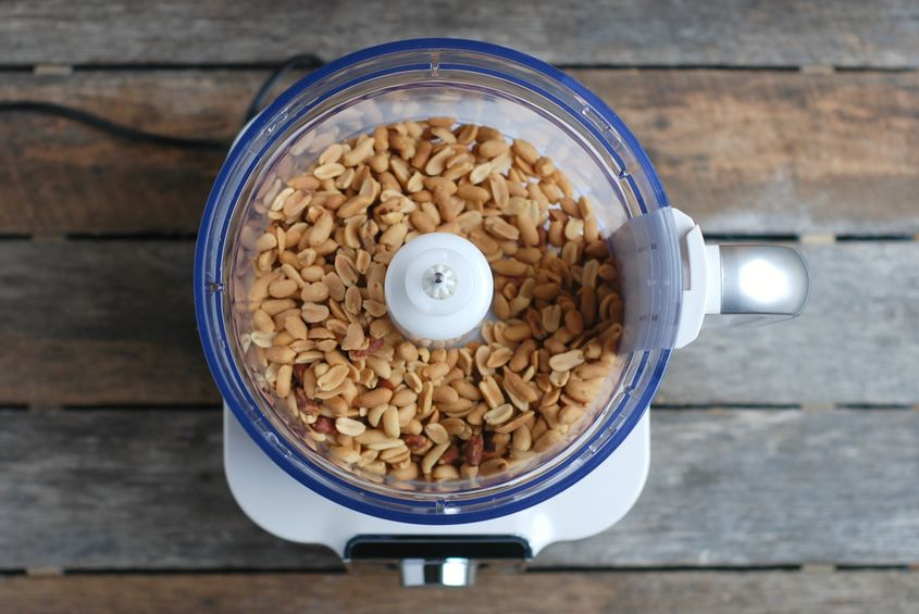 peanuts in food processor for homemade peanut butter