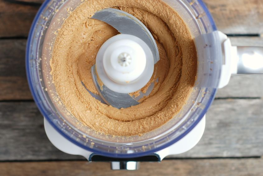 homemade peanut butter in food processor