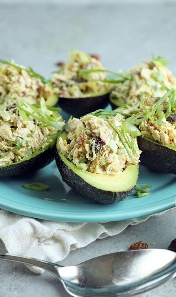 Curry Chicken Salad Stuffed Avocados