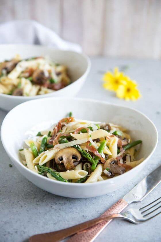 Pasta With Asparagus Mushrooms And Prosciutto Culinary Hill 1 660X990