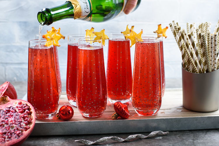 Bubbly Pomegranate Lime Champagne Cocktail