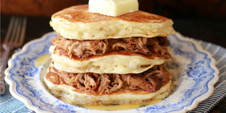 Pulled Pork Pancakes with Whiskey Maple Sauce