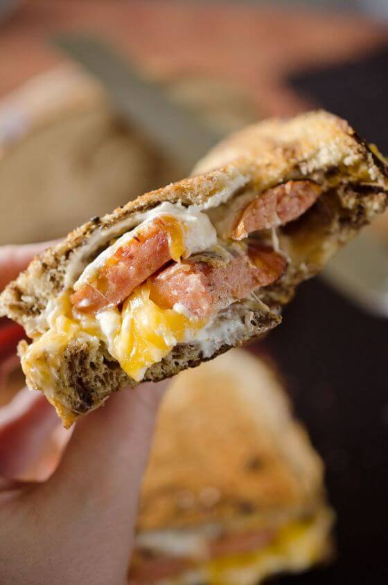 Smoked Sausage Triple Grilled Cheese 2