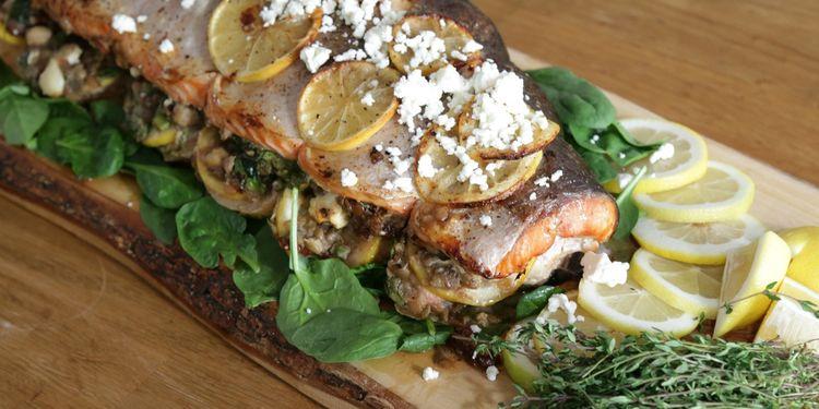 Whole Roasted Lentil Stuffed Salmon