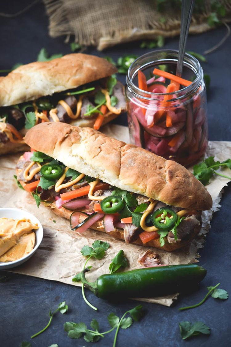 Vietnamese Pork Bahn Mi With Sriracha Tahini Mayo