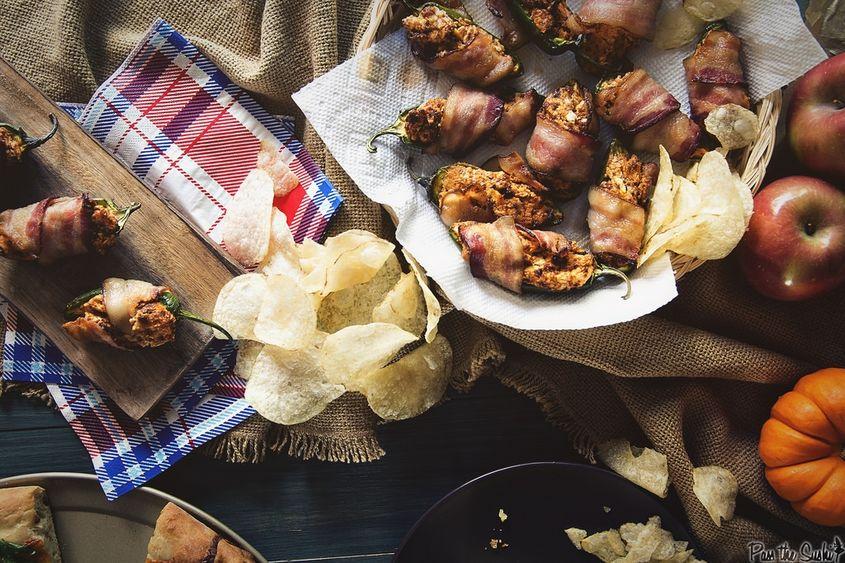 Bacon Wrapped Chorizo Jalapeno Poppers