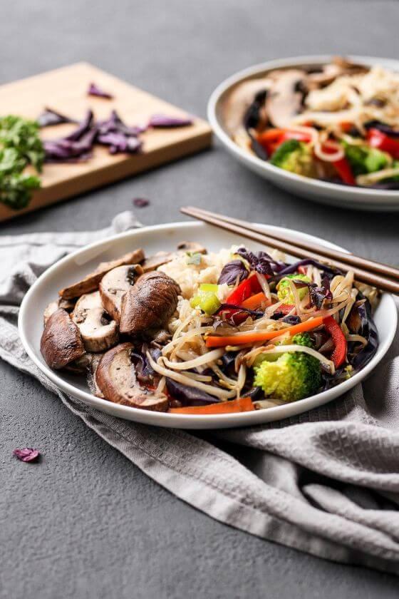 Easy Vegan Portobello Chop Suey Bowls 5
