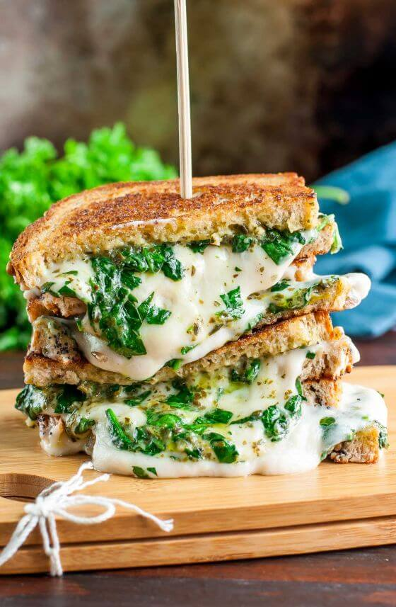 Extra Cheesy Vegan Grilled Cheese Three Ways Spinach Pesto Sandwich 824