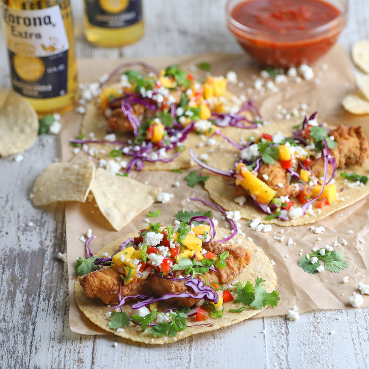 Air fried beer battered fish tacos with mango salsa for Beer battered fish tacos recipe