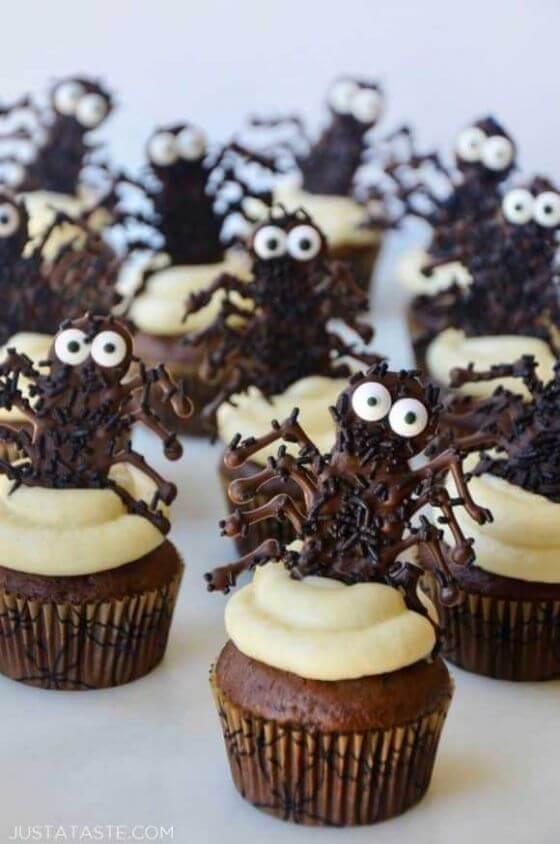Halloween Cupcakes Chocolate Spiders 580X875