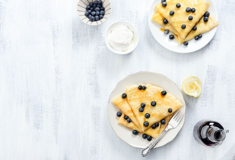 Lemon and Blueberry Crepes