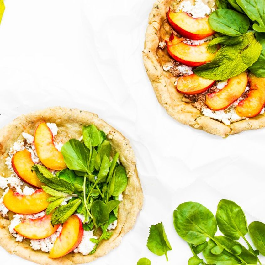 Peach Watercress Pizza