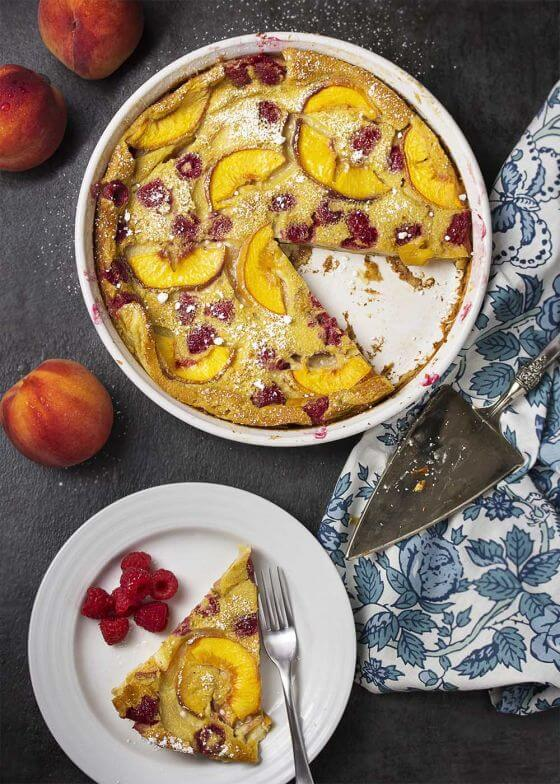 Raspberry Peach Clafoutis 6