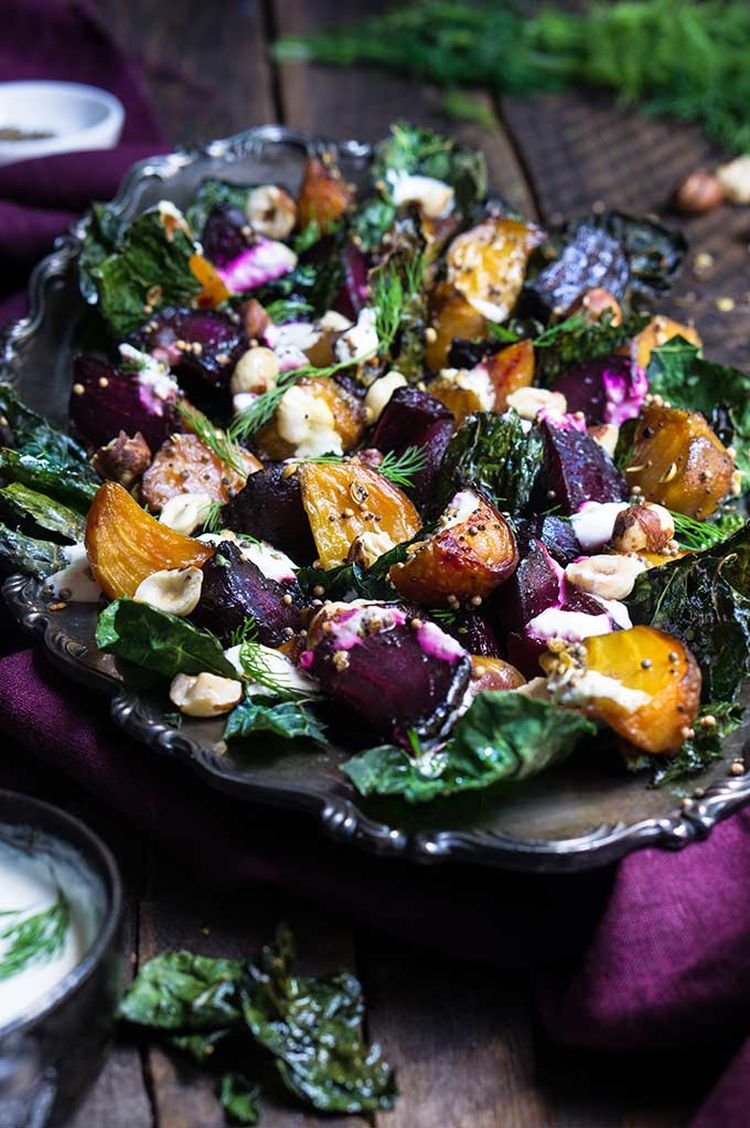 Roasted Beet Kale Salad Horseradish Crema 11