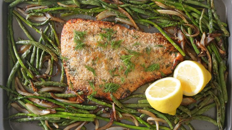 Parmesan Crusted Salmon with Lemon and Veggies