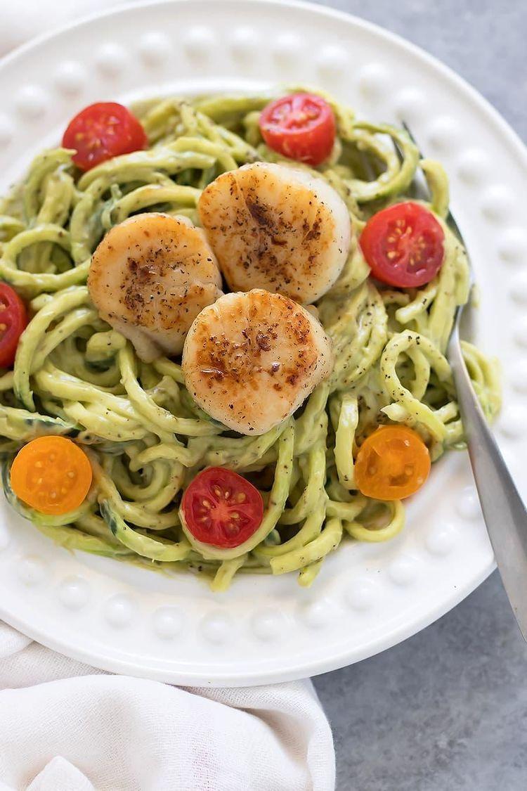 Scallops Zucchini Noodles Avocado2