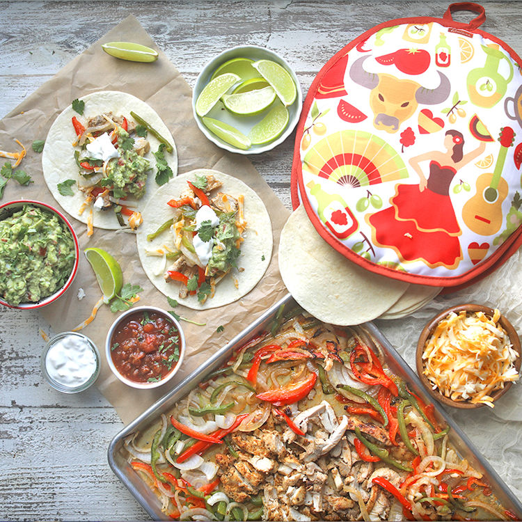 Easy Sheet Pan Chicken Fajitas with Homemade Guacamole