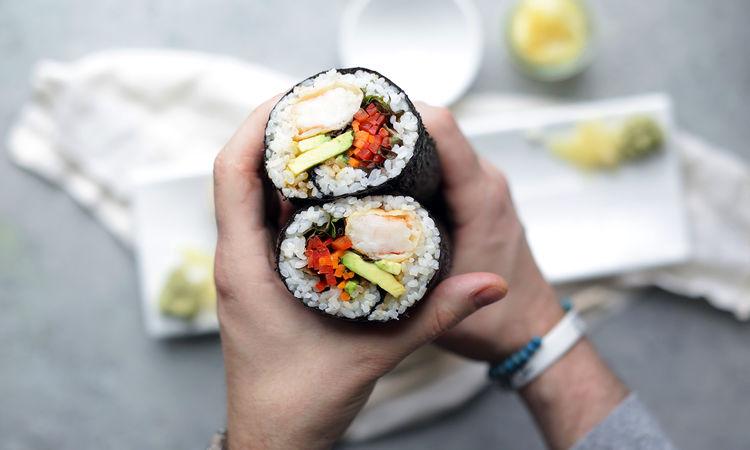 Spicy Tuna and Tempura Shrimp Sushi Burrito Recipes
