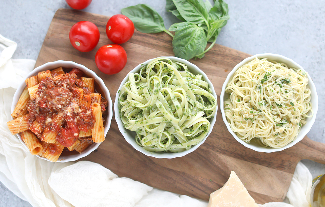 3 Homemade Pasta Sauce Recipes Red Meat Sauce Pesto Aglio E Olio Billy Parisi The Inspired Home