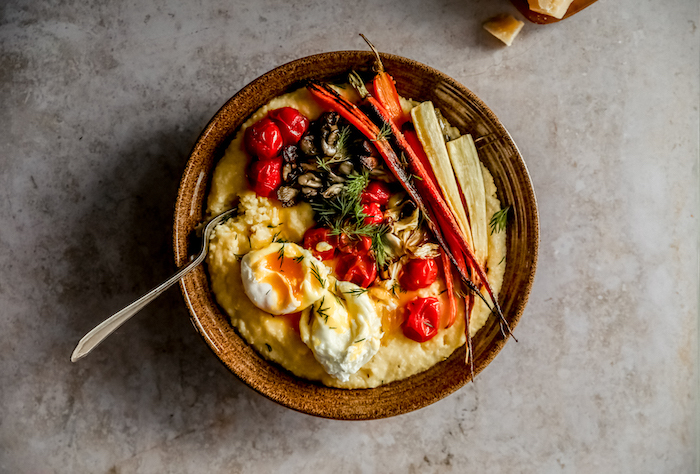 Easy Polenta and Roasted Vegetables with Poached Eggs & Dill