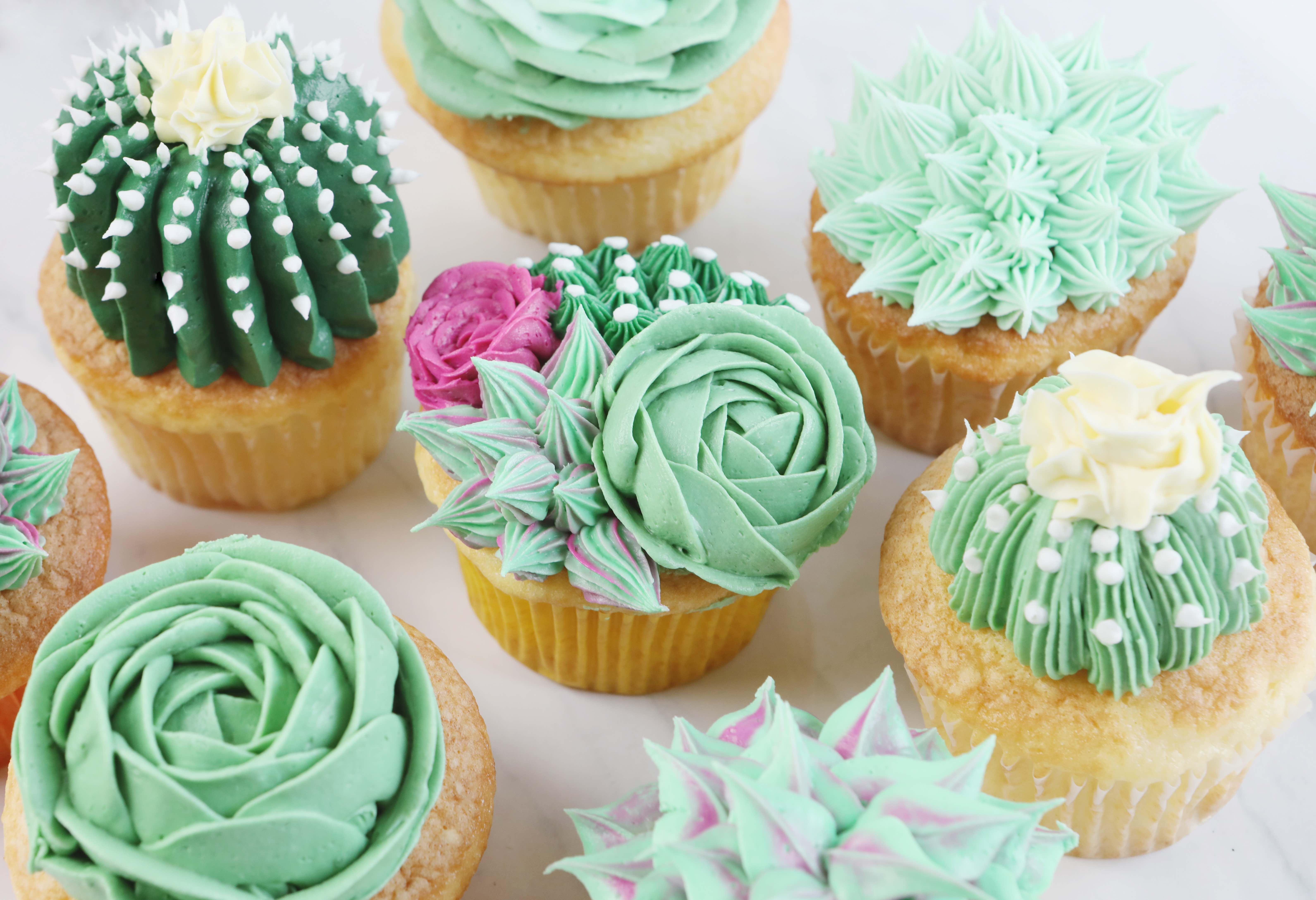 Sweet Vanilla Succulent Cupcake Decorating Tutorial Amanda Rettke The Inspired Home