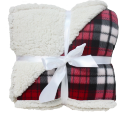 Featured Product Winter Plaid Sherpa Fleece Blanket in Raspberry