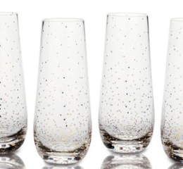 Featured Product Lustre Dots Gold Stemless Flute Glasses