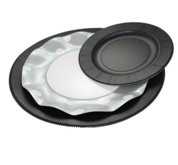 Featured Product Opaque Black Righe Salad/Dessert Plate
