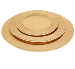 Featured Product Satin Gold Righe Dinner Plates