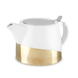 Featured Product Harper Ceramic Teapot & Infuser in Gold Dipped
