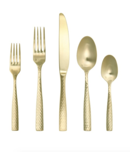 Featured Product Lucca Faceted Brushed Gold Flatware Set