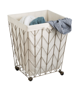 Featured Product Chevron Rolling Wire Hamper, Coastal Collection