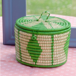 Featured Product Oval Lidded Storage Basket in Lime Green