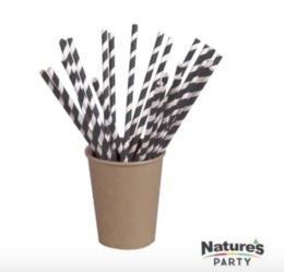 """Featured Product """"Bees Knees"""" Black Compostable Paper Straws"""