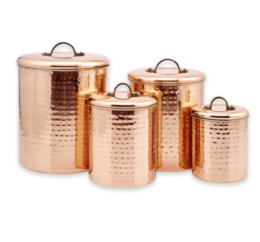 Featured Product Décor Hammered Copper 4-Piece Canister Set