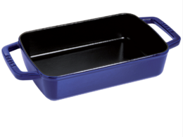 "Featured Product Cast Iron 12"" x 8"" Roasting Pan in Dark Blue"