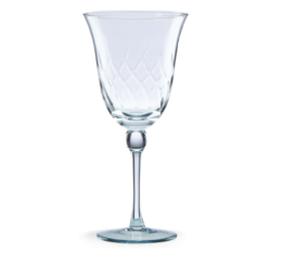 Featured Product Etched Footed Blue Wine Glass