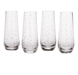Featured Product Lustre Dots Platinum Stemless Flute Set