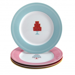 "Featured Product 4-Piece ""Mini Cakes"" Dessert Plate Set"