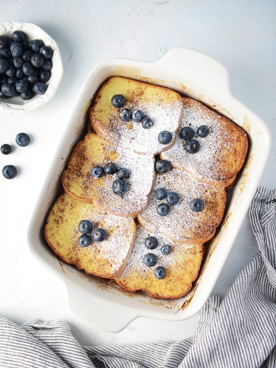 French Toast Casserole with Cream Cheese Filling overhead