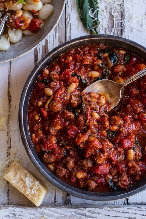 Crockpot Tuscan Sausage And White Bean Ragu With Buttered Gnocchi 5