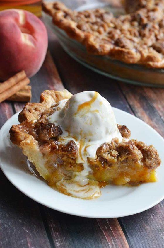Maple Bourbon Brown Butter Peach Pie 4