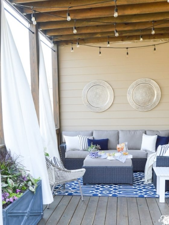Outdoor Curtains On Back Porch Bue And White Outdoor Living Kelley Nan