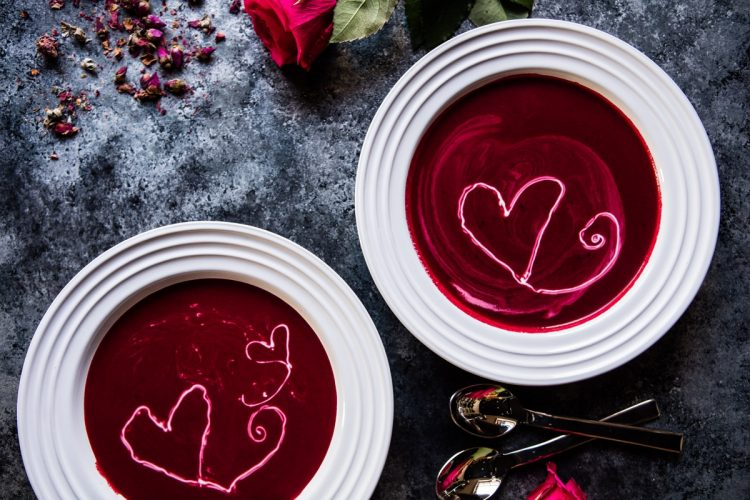 Roasted Beet and Goat Cheese Soup