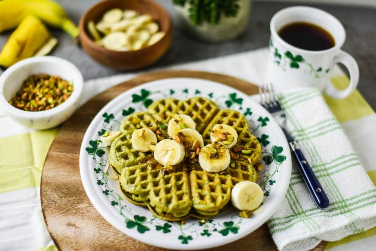 Green Tea Shamrock Waffles with Banana Coins & Pistachios