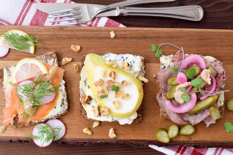 Roast Beef, Smoked Salmon, & Blue Cheese Smørrebrød Recipes
