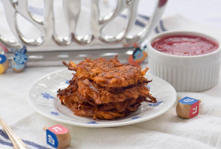 An American Hanukkah Meal: Sweet Potato Latkes and Cranberry Applesauce