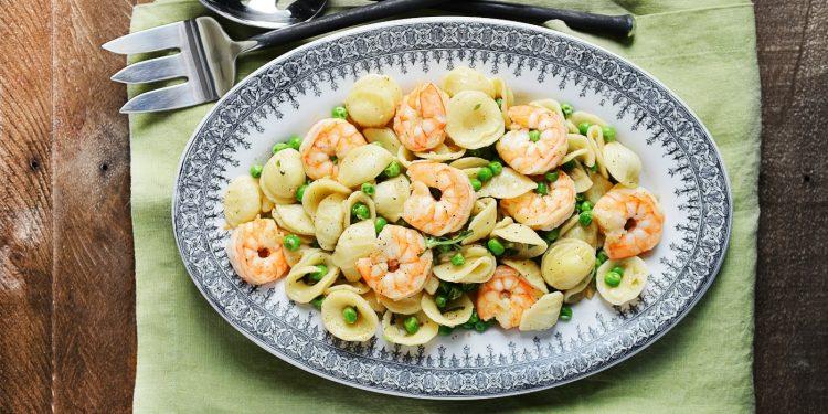 Spring Orecchiette with Shrimp & Peas
