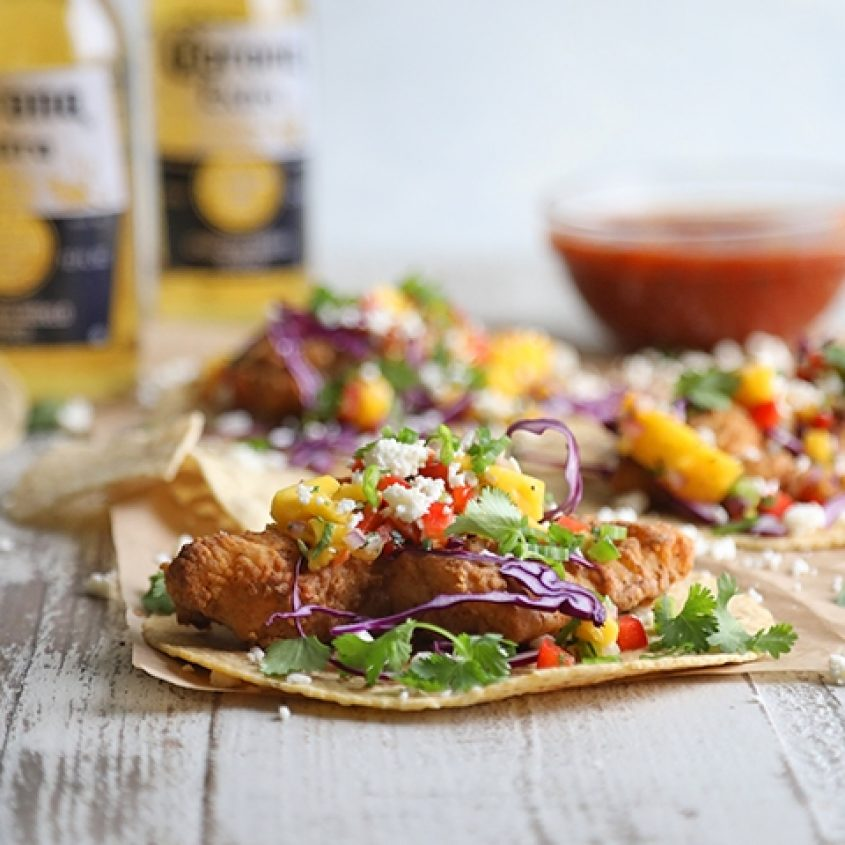Air fried beer battered fish tacos with mango salsa for Airfryer battered fish